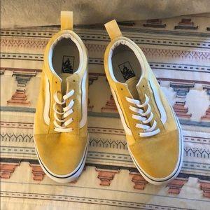 Yellow old school slip on vans